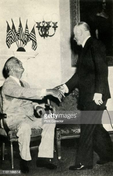 President Benes visits F D Roosevelt in 1942' Benes and American president Franklin D Roosevelt in Washington DC USA Edvard Benes was President of...