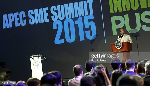 President Benigno S Aquino III delivers his speech during the AsiaPacific Economic Cooperation Small and Medium Enterprises Summit 2015 at The Green...