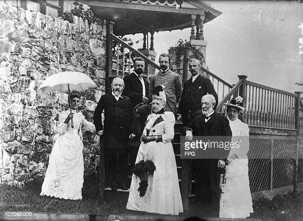 US President Benjamin Harrison stays at the summer home of Senator James G Blaine at Bar Harbor in Maine 1889 President Harrison is at the left...