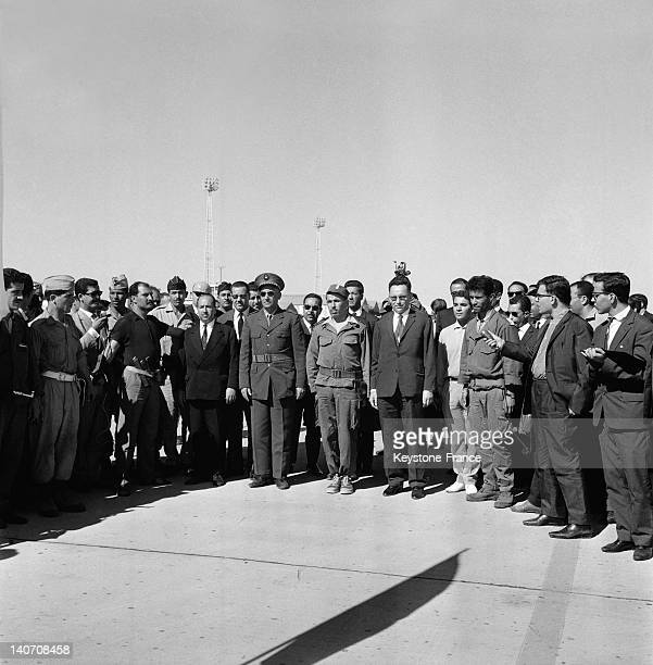 President Benyoucef Benkhedda with members of the provisional government of Algerian Republic arrive on July 4 1962 at Algiers airport Algeria after...