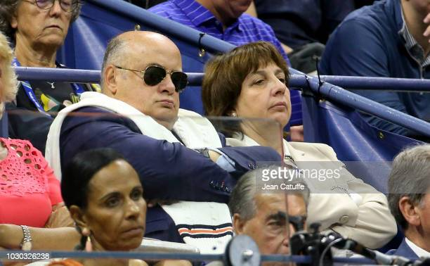President Bernard Giudicelli and his wife attend the men's final on day 14 of the 2018 tennis US Open on Arthur Ashe stadium at the USTA Billie Jean...