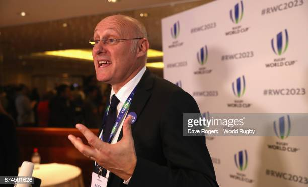 President Bernard Laporte faces the television cameras after the annoucement that France will host Rugby World Cup 2023 during the Rugby World Cup...
