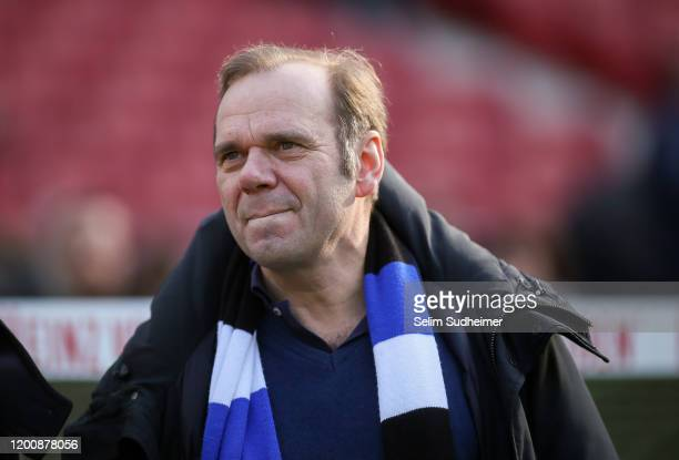 President Bernd Hoffmann of Hamburger SV is pictured prior to the Second Bundesliga match between Hannover 96 and Hamburger SV at HDI-Arena on...