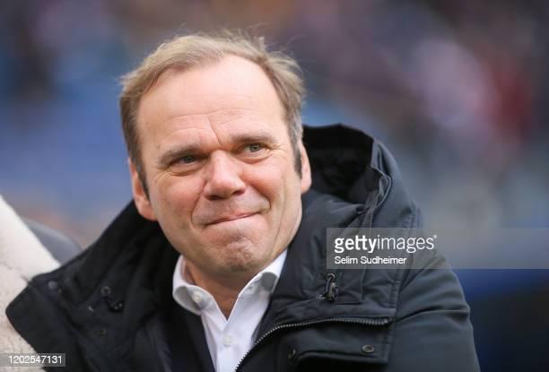 President Bernd Hoffmann of Hamburger SV is pictured prior to the Second Bundesliga match between Hamburger SV and FC St. Pauli at Volksparkstadion...