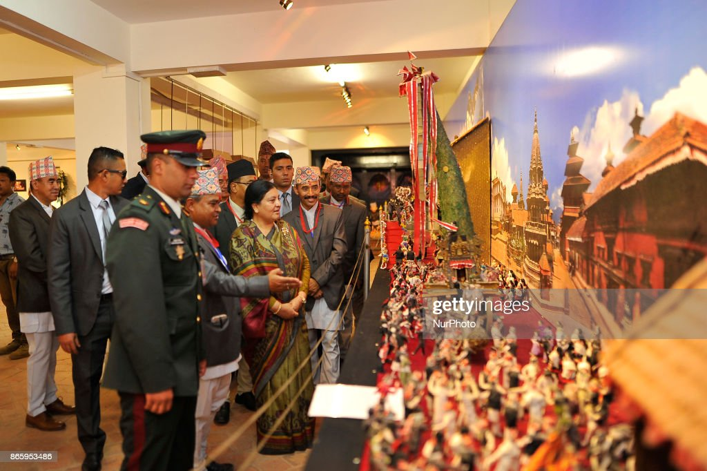 President Bidhya Devi Bhandari observing preserved traditional items during inauguration ceremony of Jyapu Museum on the occasion of 72nd United Nations Day in Chyasal, Lalitpur, Nepal on Tuesday, October 24, 2017.