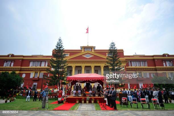 President Bidya Devi Bhandari administers the oath of office and secrecy to newly elected Deputy Prime Ministers Bijay Kumar Gachchhadar Ministry of...