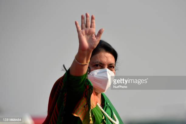 President Bidya Devi Bhandari along with face mask wave her hand before leave for two-day official state visit to Bangladesh on Monday, March 22,...