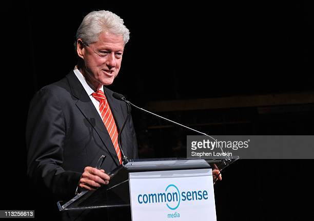 President Bill Clinton accepts award at the 7th Annual Common Sense Media Awards honoring Bill Clinton at Gotham Hall on April 28 2011 in New York...