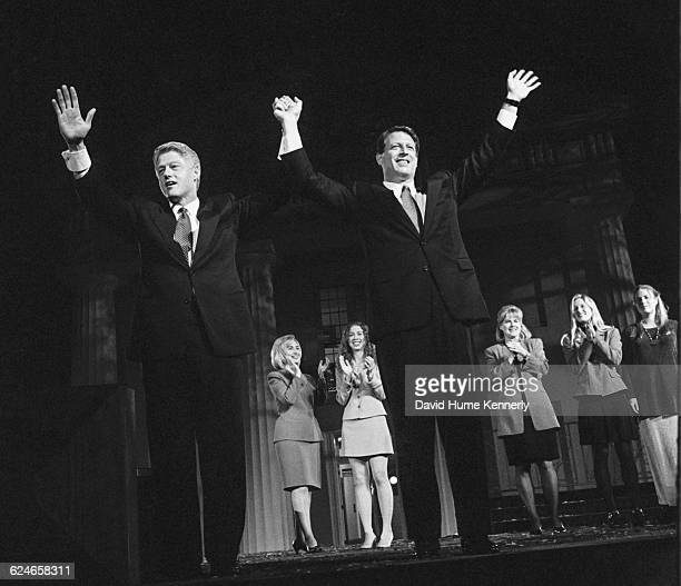 President Bill Clinton along with Vice President Al Gore celebrate their second presidential victory during election night festivities in Little Rock...