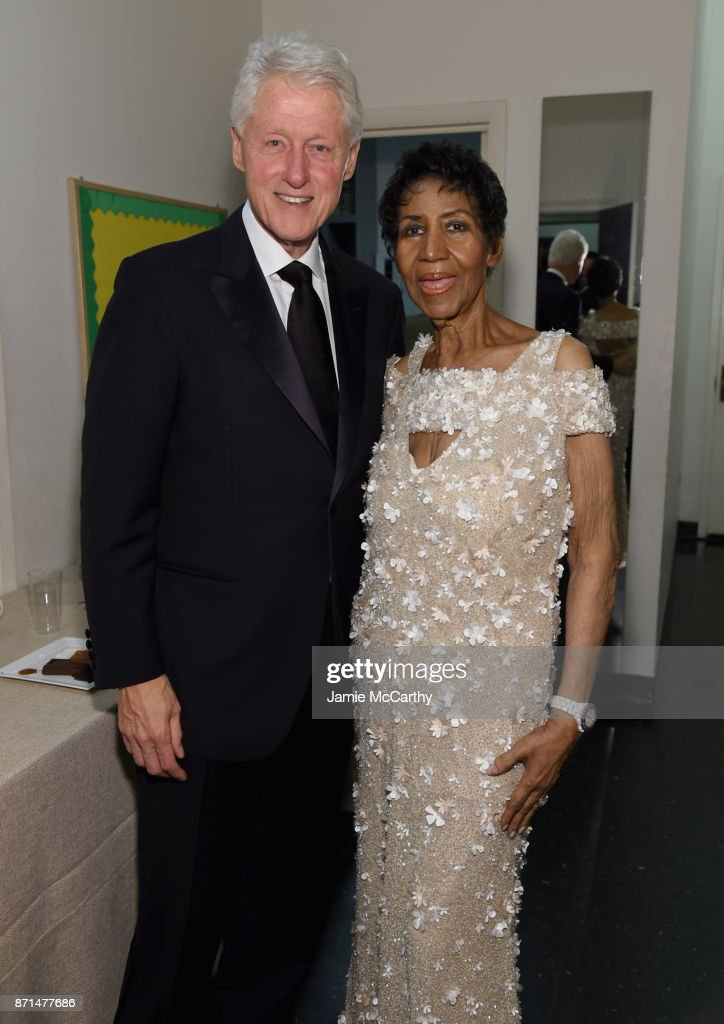 President Bill Clinton and Aretha Franklin attend the Elton John AIDS Foundation Commemorates Its 25th Year And Honors Founder Sir Elton John During New York Fall Gala at Cathedral of St. John the Divine on November 7, 2017 in New York City.