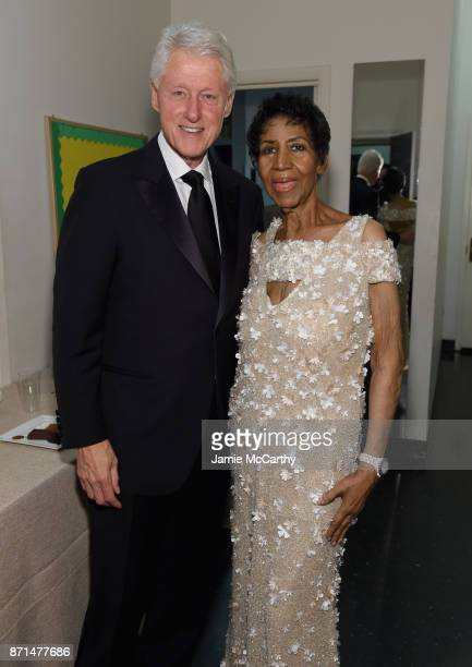 President Bill Clinton and Aretha Franklin attend the Elton John AIDS Foundation Commemorates Its 25th Year And Honors Founder Sir Elton John During...