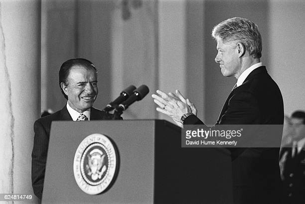President Bill Clinton and Argentinian President Carlos Menem at a reception at the White House on January 11 1999