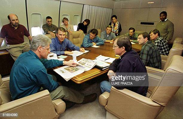 President Bill Clinton and Federal Emergency Management Administration Director James Lee Witt meet 22 April with a delegation from North and South...