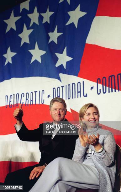 US President Bill Clinton and First Lady Hillary Clinton appear on stage at the '96 Democratic National Committee' Gala fund raising event at the...