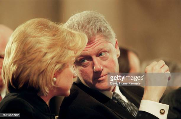 President Bill Clinton and First Lady Hillary Clinton at a memorial service for Florida Gov Lawton Chiles on Jan 28 1999 Chiles died of a heart...
