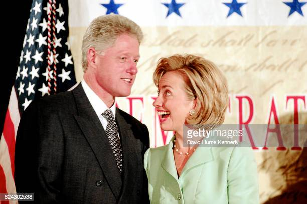 President Bill Clinton and First Lady Hillary Clinton at the Democratic Business Leaders event Washington DC September 10 1998