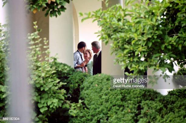 President Bill Clinton and First Lady Hillary Clinton at the White House preparing to leave for a Democratic Business Leaders event the day after...