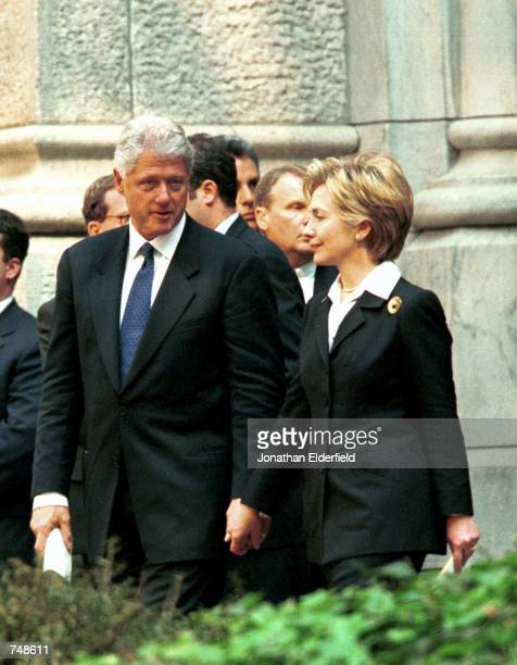 S President Bill Clinton and First Lady Hillary Clinton leave St Patrick's Cathedral May 8 2000 in New York City after the funeral of Cardinal John...