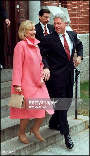 President Bill Clinton and First Lady Hillary Clinton leave the national prayer service at the Metropolitan AME Church in Washington DC prior to...