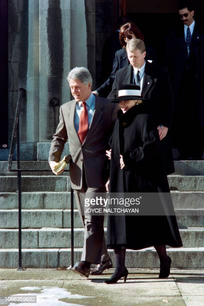 US President Bill Clinton and First Lady Hillary leave Foundry United Methodist Church on January 14 1996 after attending a special Sunday service in...