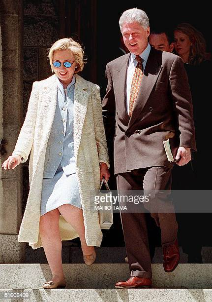 President Bill Clinton and First Lady Hillary Rodham Clinton depart Foundry Methodist Church following Sunday morning services 02 May 1999 in...