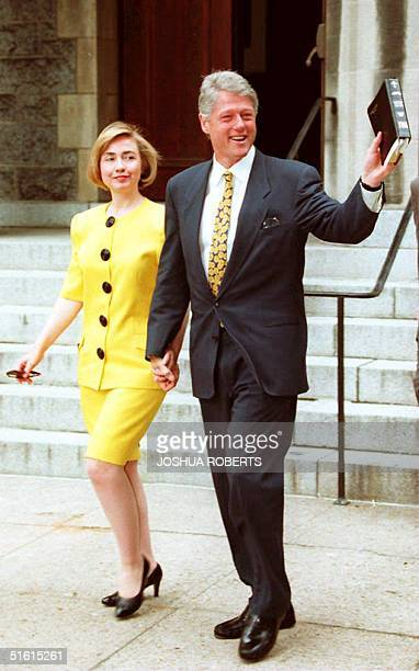 President Bill Clinton and First Lady Hillary wave to reporters as they leave United Foundry Methodist Church 12 June 1994 Clinton is due to receive...