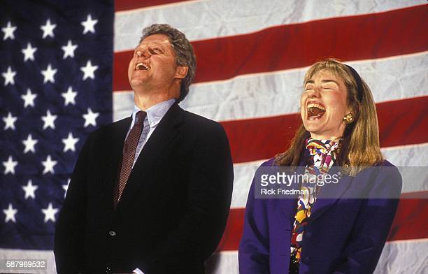 President Bill Clinton and former Secretary of State Hillary Clinton photographed in Manchester NH during President Clinton's presidential campaign...