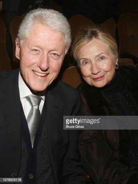 President Bill Clinton and Hillary Clinton pose at the opening night of Manhattan Theatre Club's production of Choir Boy on Broadway at The Samuel J...