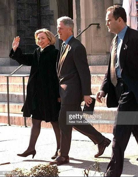 President Bill Clinton and Hillary Rodham Clinton attending the United Foundry Methodist Church in Washington