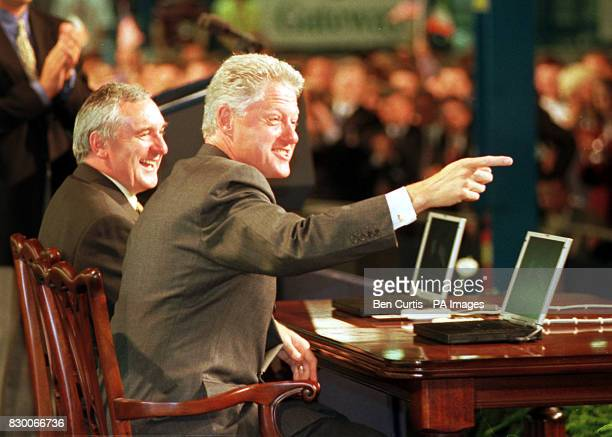 US President Bill Clinton and Irish Taoiseach Bertie Ahern today digitally sign an accord on electronic commerce at the Gateway 2000 computer factory...