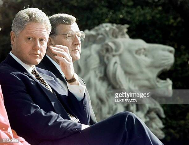 President Bill Clinton and Missouri Governor Mel Carnahan appear 28 October at a rally in St Louis Missouri Clinton is scheduled to fly later 28...