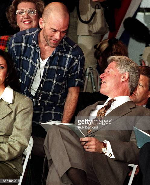 President Bill Clinton and REM's Michael Stipe attend rally at Centennial Olympic Park in Atlanta Georgia November 18 1996 Photo By Rick...