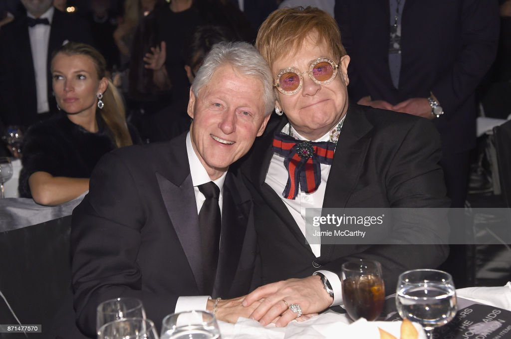President Bill Clinton and Sir Elton John attend the Elton John AIDS Foundation Commemorates Its 25th Year And Honors Founder Sir Elton John During New York Fall Gala at Cathedral of St. John the Divine on November 7, 2017 in New York City.