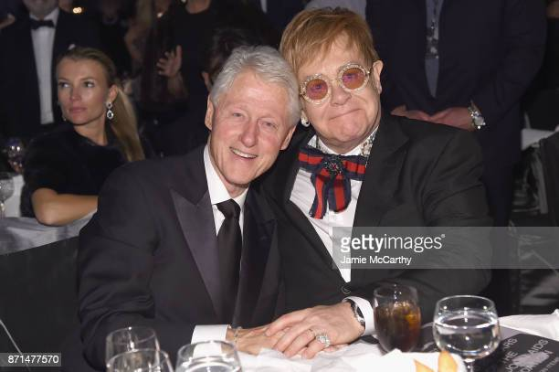 President Bill Clinton and Sir Elton John attend the Elton John AIDS Foundation Commemorates Its 25th Year And Honors Founder Sir Elton John During...