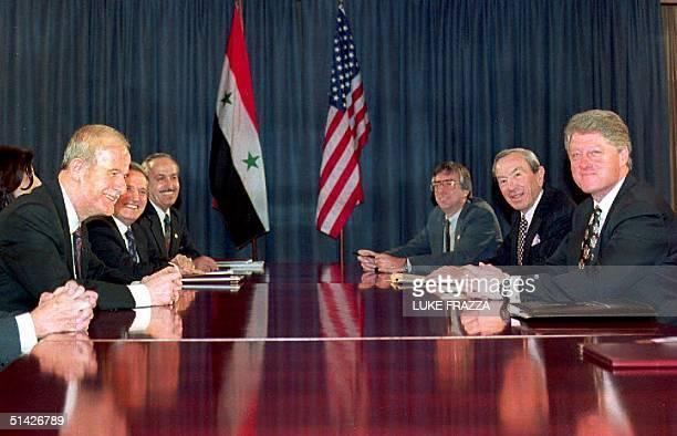 S President Bill Clinton and Syrian President Hafez alAssad open their talks to revive the ArabIsraeli peace process 16 January 1994 in Geneva...