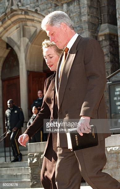 President Bill Clinton and wife Hillary leave the Foundry Methodist Church in Washington DC 17 January The impeachment trial of US President Bill...
