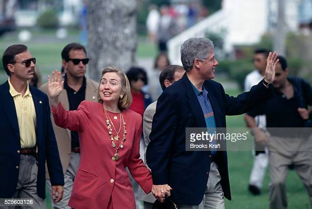 President Bill Clinton and Wife Hillary on Vacation at Martha's Vinyard