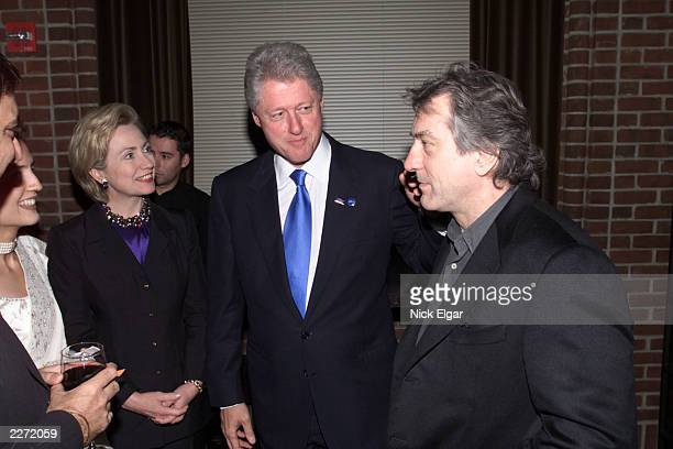 President Bill Clinton and wife Hillary with Robert De Niro at Hillary Clinton's Birthday Party at the Hudson Hotel in New York City October 25 2000