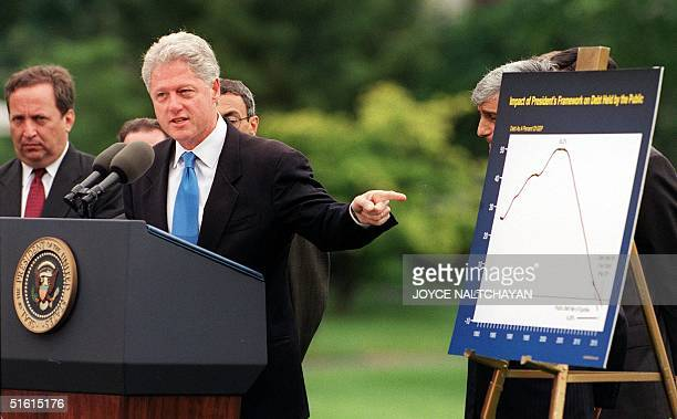 President Bill Clinton announces 28 June that the federal budget surplus would be 99 billion USD in Fiscal Year 1999 rather than the previously...