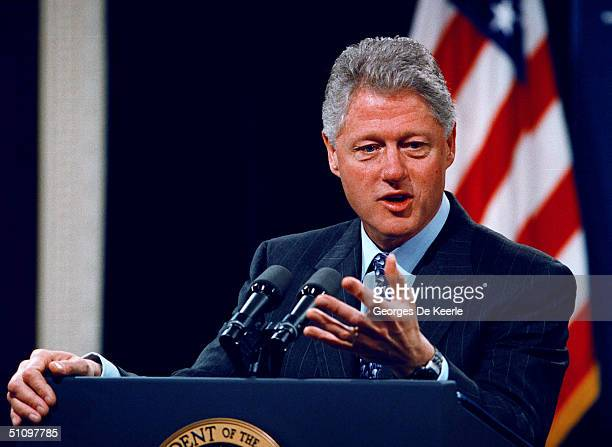 President Bill Clinton Announces To The Press His Intention To Ask Congress For Supplemental Funding For The Air War Over Yugoslavia At The White...