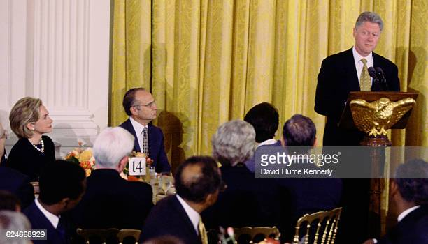 President Bill Clinton at a White House prayer breakfast, Clinton shed a tear as he talked about 'the rock bottom truth' of his Monica Lewinsky...