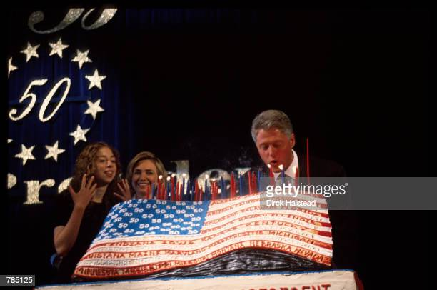 President Bill Clinton blows out candles August 19 1996 in New York City The 42nd President of the United States and former governor of Arkansas Bill...