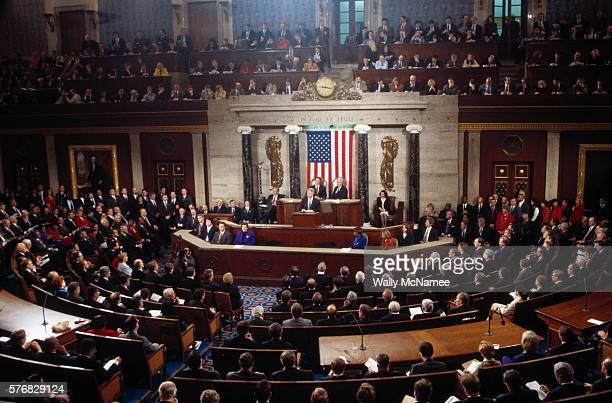 President Bill Clinton delivers his 1997 State of the Union address in the House Chamber
