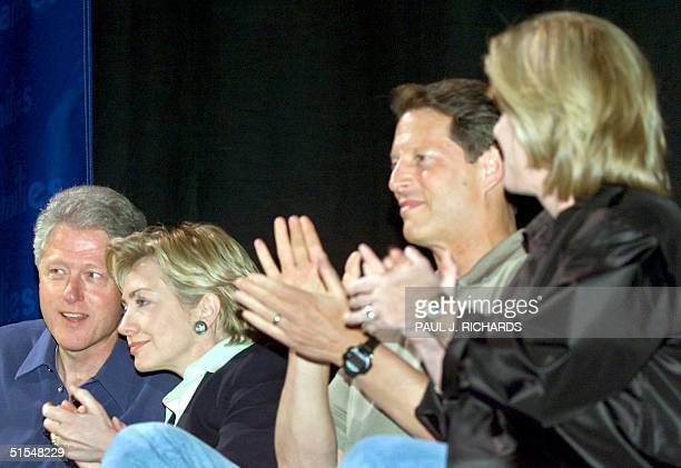 US President Bill Clinton First Lady and New York Senate candidate Hillary Clinton US VicePresident Al Gore and his wife Tipper Gore applaud at the...