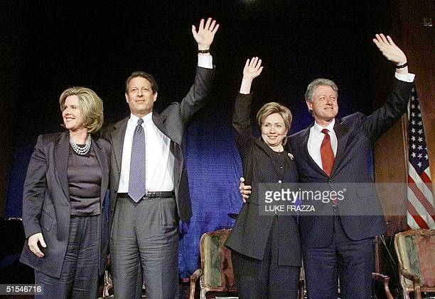 President Bill Clinton First Lady and US Senate candidate Hillary Clinton and Democratic presidential candidate US Vice President Al Gore and his...
