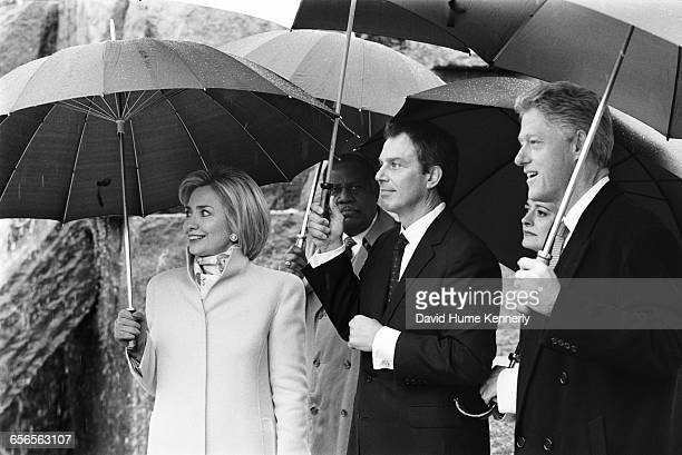 S President Bill Clinton First Lady Hillary Clinton and British Prime Minister Tony Blairat the FDR memorial on February 6 1998