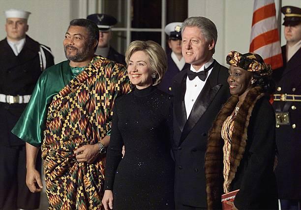 President Bill Clinton First Lady Hillary Rodham Clinton Ghana's President Jerry John Rawling and his wife Nana Kondau AgyemanRawlings pose at the...