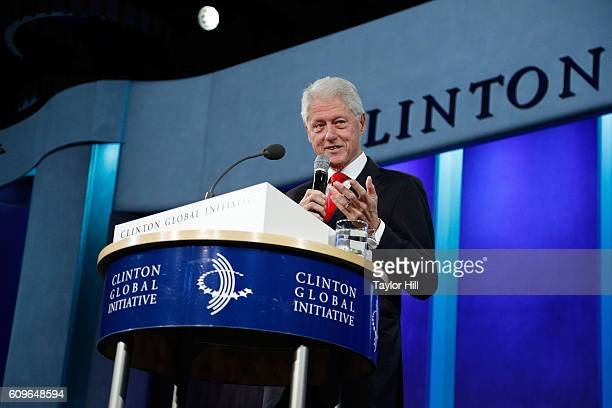 President Bill Clinton gives a farewell address at the 2016 Clinton Global Initiative Annual Meeting at Sheraton New York Times Square on September...