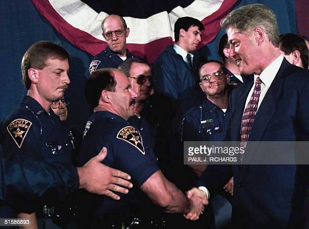 President Bill Clinton greets members of the Fraternal Order of Police after the president's address on crime issues to the Cincinnati Ohio community...