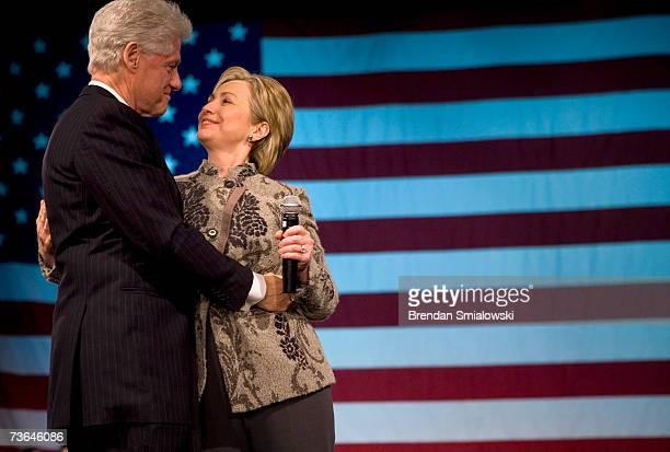 President Bill Clinton hugs his wife Senator Hillary Rodham Clinton during a fundraiser March 20 2007 in Washington DC Former President Bill Clinton...